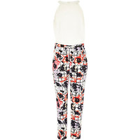 River Island Girls cream floral check print jumpsuit