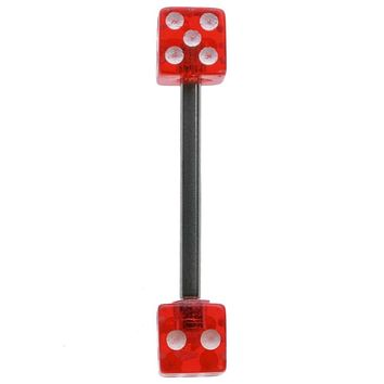 14G 5/8 Two Sided Red UV Dice Straight Barbell