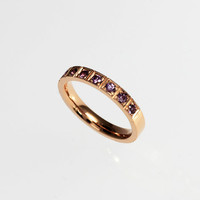 Ready to ship size 6, Rose gold ring with lavender sapphires, milgrain ring, vintage style, rose gold engagement, wedding, violet, sapphire