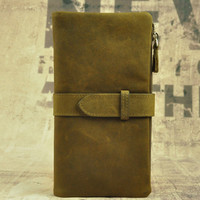 genuine leather long wallet vintage handmade card hold cool gift 35