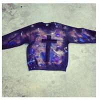 Galaxy and Cross Crew Necks by TheNouveauRiche on Etsy