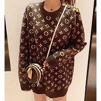 Louis Vuitton  LV Fashion Women Leisure Jacquard Knit Round Collar Sweater Sweatshirt Top