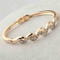 18k Rose Gold Filled Austrian Crystal Bangle Gift Jewelry