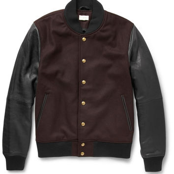 Club Monaco - Leather and Wool-Blend Bomber Jacket | MR PORTER
