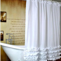 "71"" x 71"" Beach White Shower Curtain"