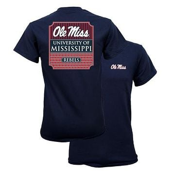 Southern Couture University of Mississippi Ole Miss Rebels Preppy Bow Girlie Bright T Shirt