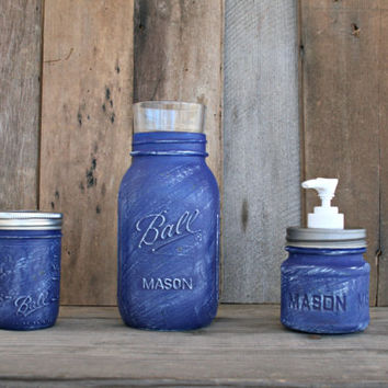 Mason Jar Bath Set, including soap dispenser - Painted in Deep Blue and Distressed - Rustic, Country, Shabby Chic, Farmhouse, Vintage Style