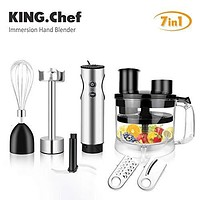 KING.Chef Immersion Blender, 7-in-1 Multifunctional 12-speed Turbo Stick Blender Stainless Steel Hand Blender Includes BPA-Free Food Processor/ Egg Beater/ 3 PCS Titanium Coating Blade, for Baby Food, Shakes, Smoothies, Sauces, Soup and More