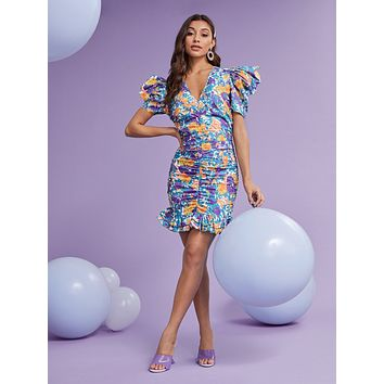 SHEIN Puff Sleeve Ruched Layered Ruffle Hem Allover Floral Dress