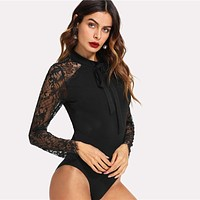 Tie Neck Lace Panel Sleeve Bodysuit Women Skinny Mid Waist Zipper Bodysuit Office Ladies Work Elegant Bodysuit