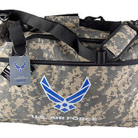 """Military Official Licensed Product """"U.S. Air Force"""" CAMO Camouflage Duffle Bag"""
