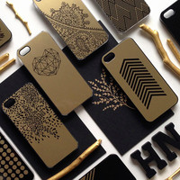 iPhone 6 Case Floral Gold, iPhone 5 Gold Metallic Case, iPhone 5s Black Floral Case, Flower Case, Floral iPhone Case,TOUGH iPhone Cover M2