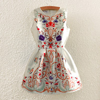 Summer Women's Fashion Vintage Sleeveless Vest Dress Shaped Prom Dress One Piece Dress [4919331652]