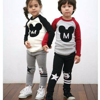 New arrived Minnie children clothing sets boys 100% Cotton print long-sleeved shirts and pants baby Cartoon suits kid clothes