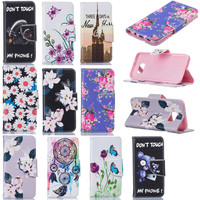 For Samsung Galaxy S7 edge Case Flip Cover Flowers Painted Phone Cases For Samsung Galaxy S7 edge Cover Wallet Leather Case