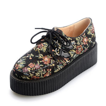 Flower pattern Handmade Cotton Cloth Ladies Lace UP Flat PlatForm Women's Goth Creepers Punk Wedge Casual Shoes