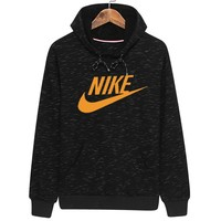 NIKE autumn and winter plus velvet sports loose hooded pullover sweater Black