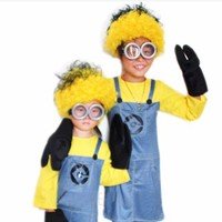 halloween Costumes for kids lovely Anime clothes cute cosplay boys girls fashion Minion Fancy Dress Costume 2017 new style