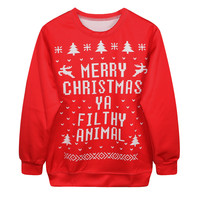Long Sleeve Pullover Ugly Christmas Sweater Hot Sale Print Christmas Couple Hoodies [9440724740]