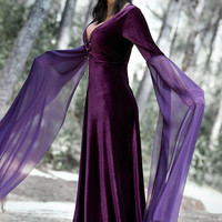 Morgan Le Fay medieval costume in velvet and chiffon