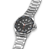Brushed and Polished Silver Tone Men's Fashion Watch