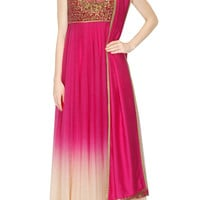 Magenta and Ivory shaded anarkali suit by JJ VALAYA