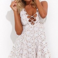 Not Done With You White Lace Sleeveless Plunge V Neck Tie Front Skater Circle A Line Flare Mini Dress