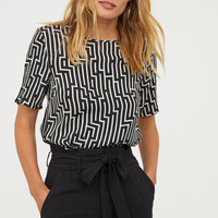 Patterned Top - Black/white patterned - Ladies | H&M US