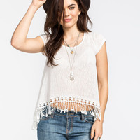 Full Tilt Hachi Knit Crochet Trim Womens Top Cream  In Sizes