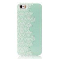 Floral Pattern Noctilucence Phone Case with Rhinestone Detail For iPhone 5/5S