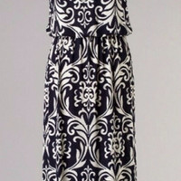 Damask Maxi Dress - Navy