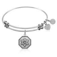 Expandable Bangle in White Tone Brass with The Star Of David Symbol