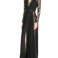 Black V Neck Lace Long Sleeve Slit Side Maxi dress