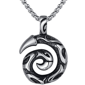 Stainless Steel Gothic Dragon Claw Pendant Necklace