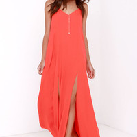 Plume Oneself Coral Red Maxi Dress