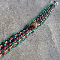 Rasta Hemp Thick Bracelet or Ankletw/ Glass by KnottyandNiceHemp