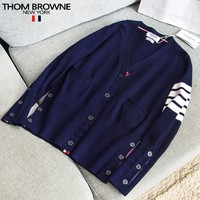 Thom Browne New fashion long sleeve coat cardigan women Blue