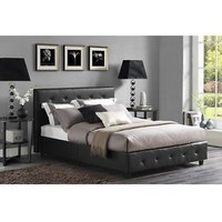 Upholstered Bed Frame Faux Leather Twin Full Queen Size w/ Headboard Furniture