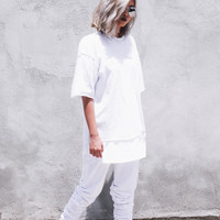 Party Distressed Tee | White