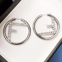 Fendi New fashion diamond letter round circle long earring Silver