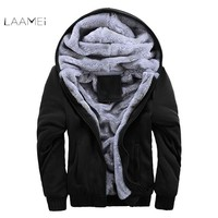 Laamei Jacket Men 2018 New Brand Winter Thick Warm Fleece Zipper Coat for Mens SportWear Tracksuit Male Casual European Hoodies