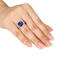 Lab-Created Sapphire Ring 1/10 ct tw Diamonds Sterling Silver