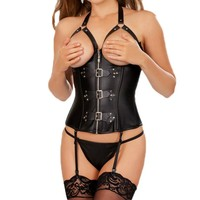 Open Bust Sexy Corset For Women Black Faux Leather Steampunk Corset With Zipper For Sexy Game Sexy Corset And Bustier