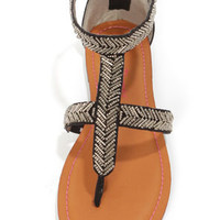 Pink & Pepper Salior Black Beaded T-Strap Thong Sandals