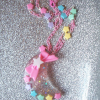 Candy Galaxy - Glitter Moon and Rainbow Stars Necklace