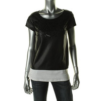Chord Womens Faux Leather Cut-Out Pullover Top