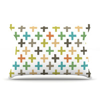 """Daisy Beatrice """"Hipster Crosses Repeat"""" Multicolor Pillow Case"""