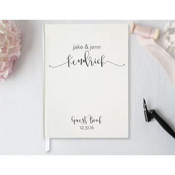 Wedding Guest Book, Hardcover, Modern Ivory, Choice of Colors & Sizes