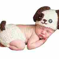 JISEN® Baby Newborn Photography Props Cute Dog Handmade Crochet Knitted Unisex Baby Cap Outfit