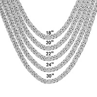 Bling Miami Cuban Link White Tone 925 Silver 6MM Necklace
